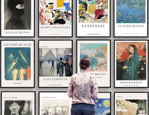 Kunst av kjente kunstnere som Edvard Munch, Claude Monet og Van gogh